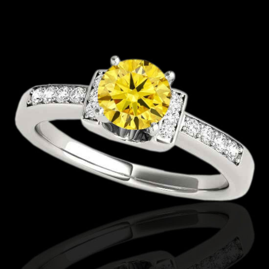 1.11 CTW Certified Si Fancy Yellow Diamond Solitaire