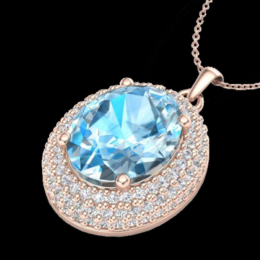 5 CTW Sky Blue Topaz & Micro Pave VS/SI Diamond - 2