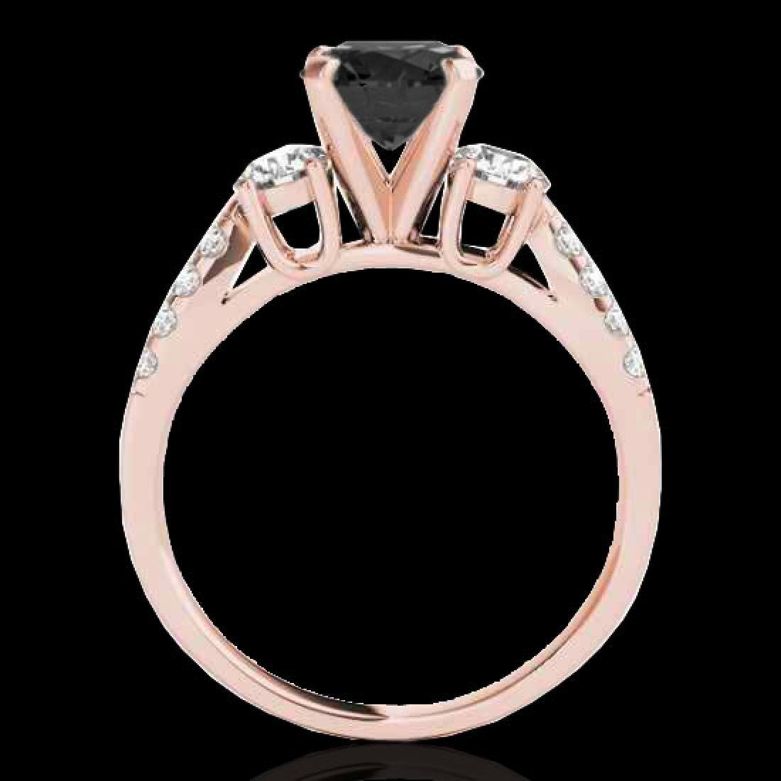 1.75 CTW Certified VS Black Diamond 3 Stone Ring 10K - 2