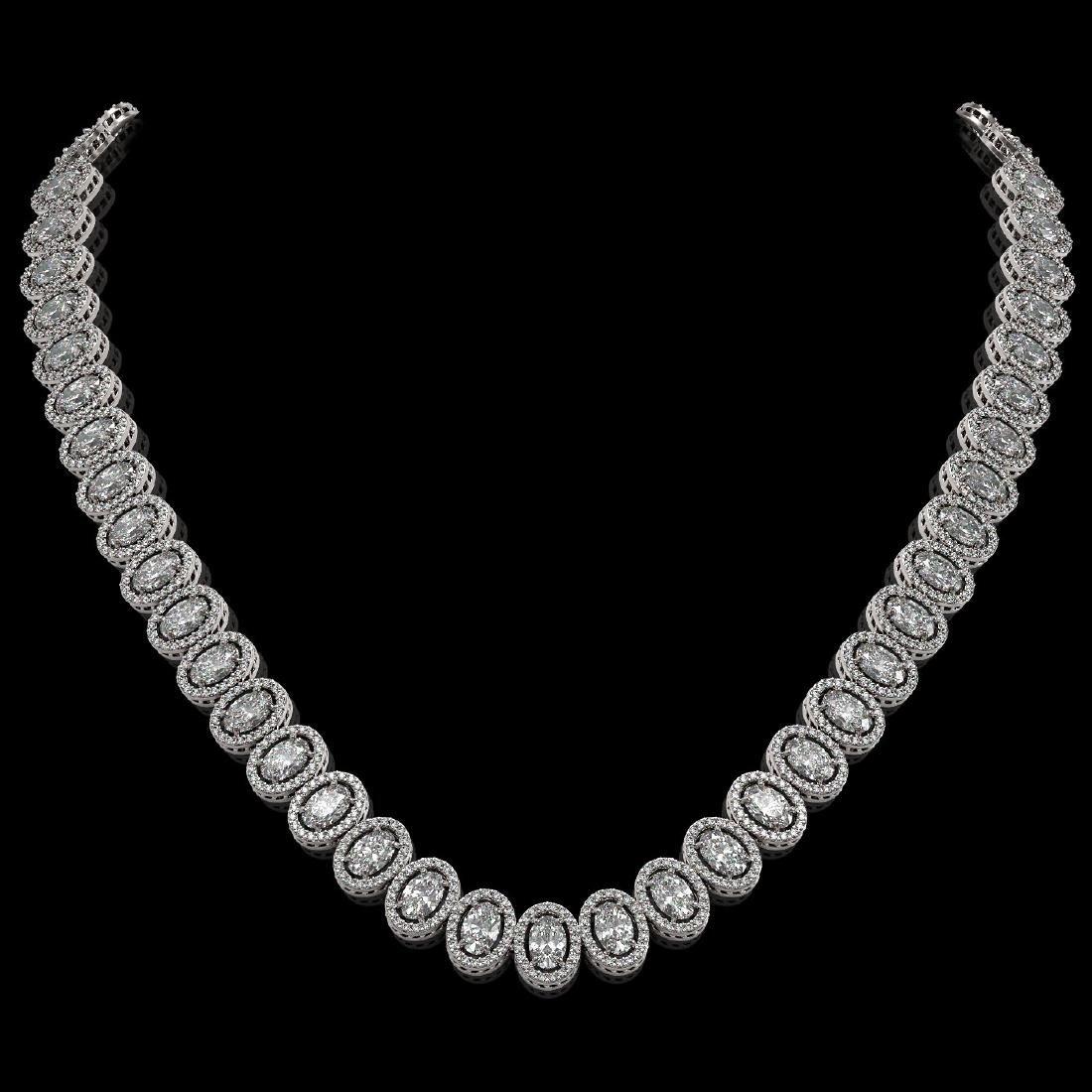34.72 CTW Oval Diamond Designer Necklace 18K White Gold
