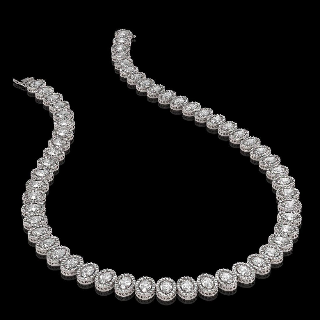 34.72 CTW Oval Diamond Designer Necklace 18K White Gold - 2