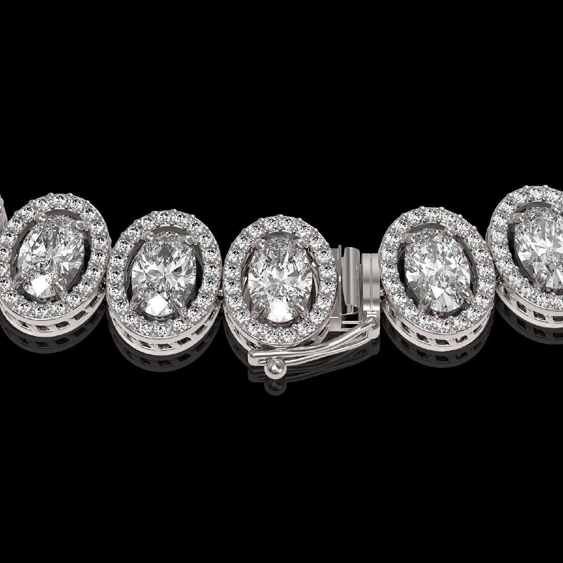 34.72 CTW Oval Diamond Designer Necklace 18K White Gold - 3
