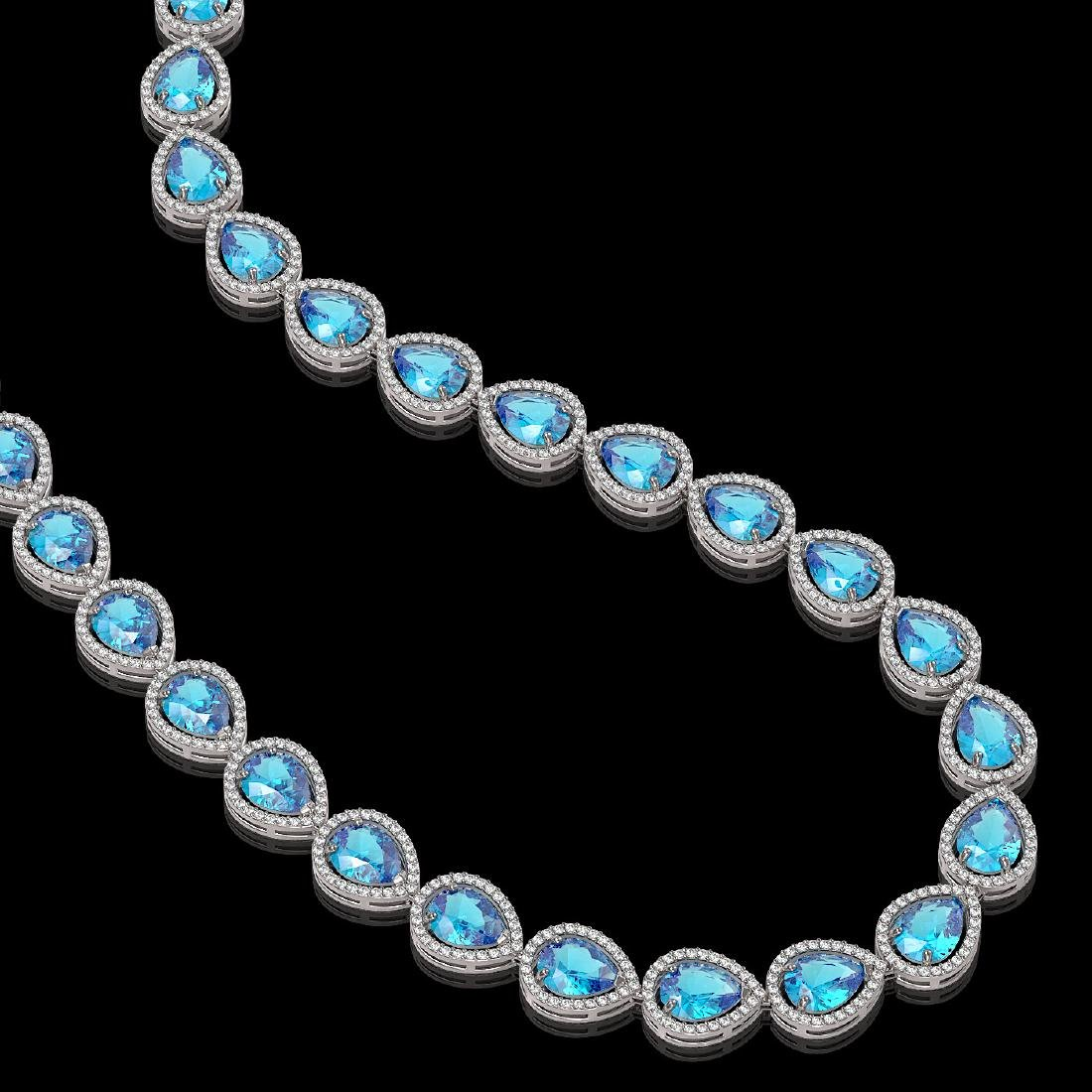43.2 CTW Swiss Topaz & Diamond Halo Necklace 10K White - 2