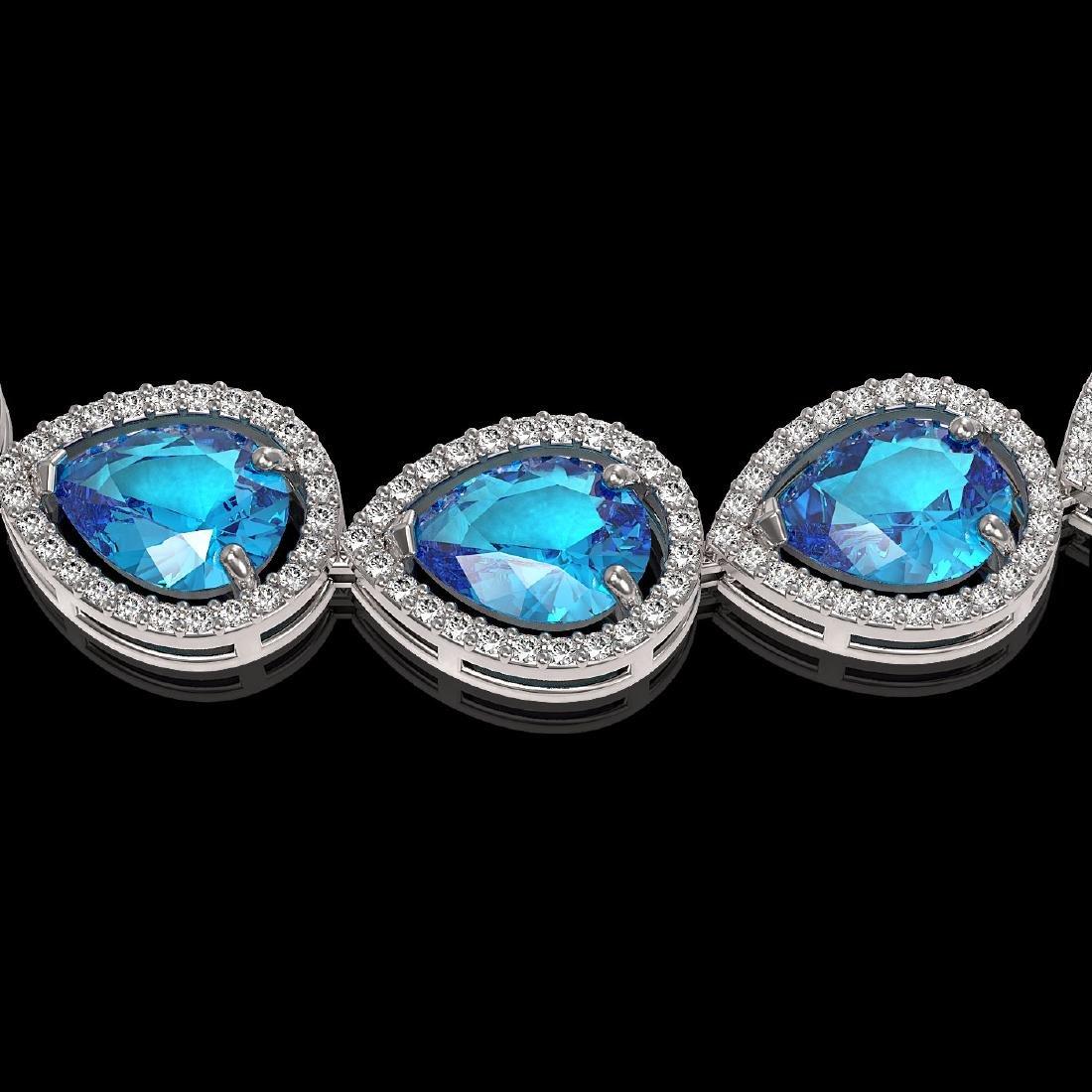 43.2 CTW Swiss Topaz & Diamond Halo Necklace 10K White - 3