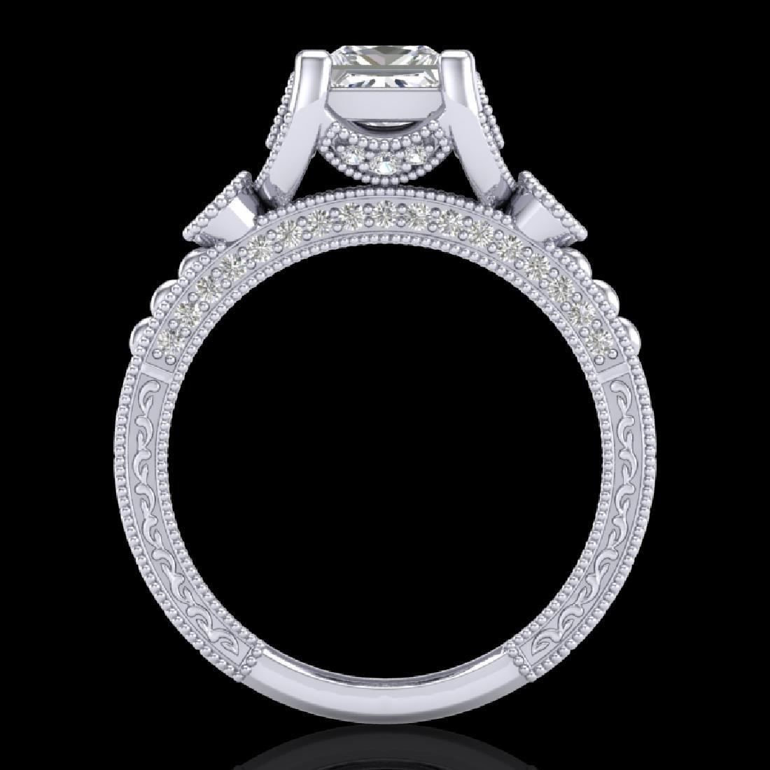 1.75 CTW Princess VS/SI Diamond Art Deco Ring 18K White