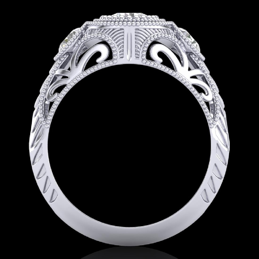 1.06 CTW VS/SI Diamond Solitaire Art Deco 3 Stone Ring