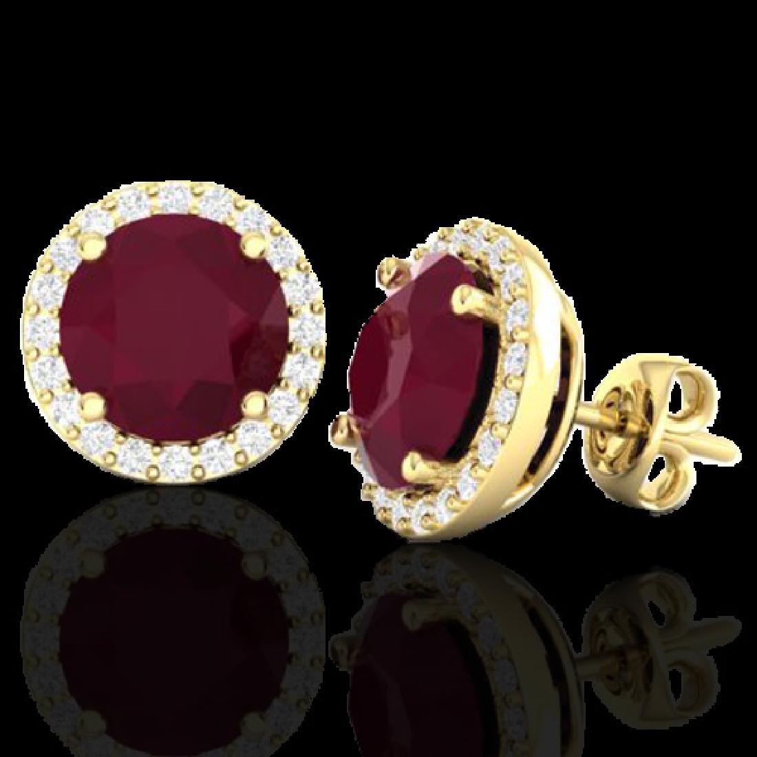 4 CTW Ruby & Halo VS/SI Diamond Micro Earrings - 2