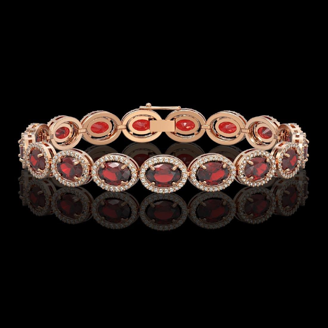 21.98 CTW Garnet & Diamond Halo Bracelet 10K Rose Gold