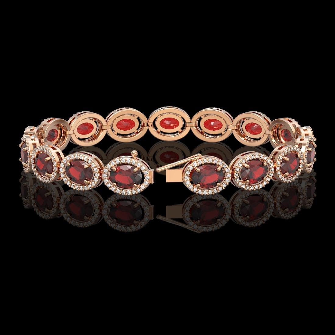 21.98 CTW Garnet & Diamond Halo Bracelet 10K Rose Gold - 2