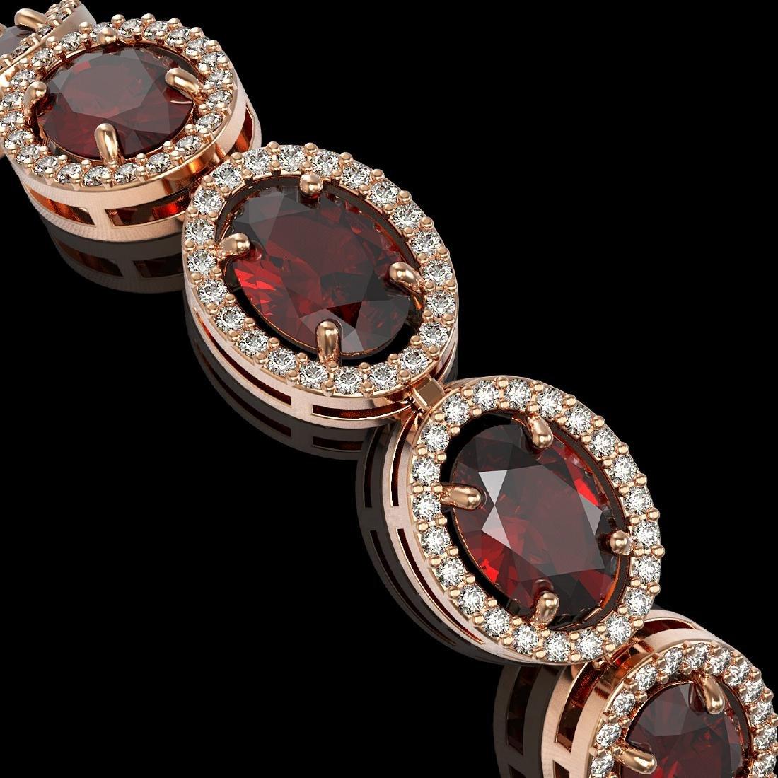 21.98 CTW Garnet & Diamond Halo Bracelet 10K Rose Gold - 3