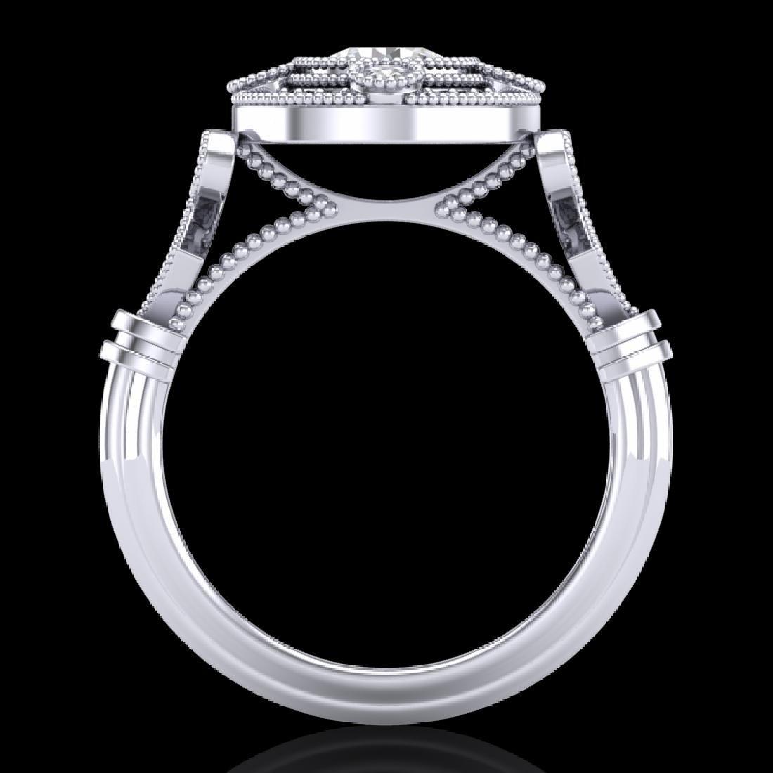 1.12 CTW VS/SI Diamond Art Deco Ring 18K White Gold