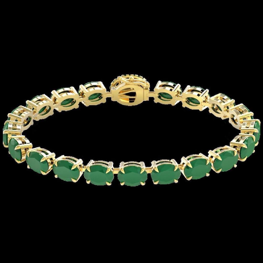 37 CTW Emerald & VS/SI Diamond Tennis Micro Pave Halo - 2