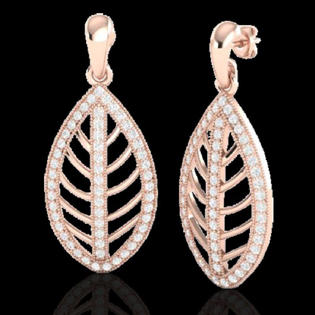 2 CTW Micro Pave VS/SI Diamond Designer Earrings 14K - 2