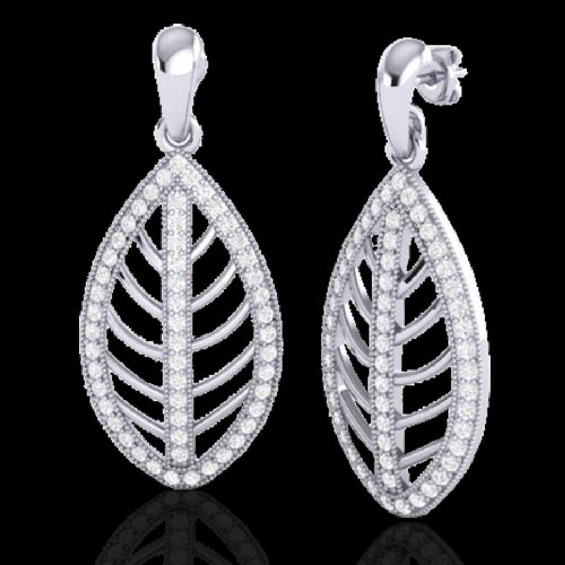 2 CTW Micro Pave VS/SI Diamond Designer Earrings 18K - 2