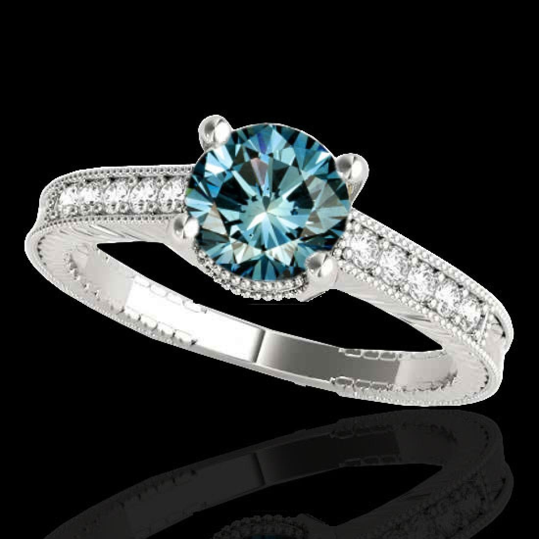 1.45 CTW SI Certified Blue Diamond Solitaire Antique