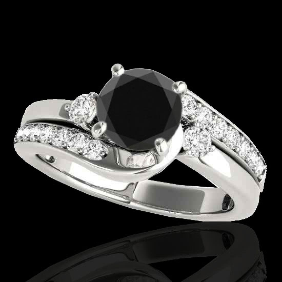 1.5 CTW Certified VS Black Diamond Bypass Solitaire