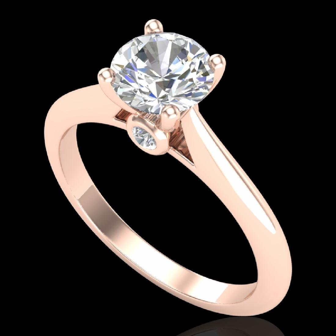 1.08 CTW VS/SI Diamond Solitaire Art Deco Ring 18K Rose