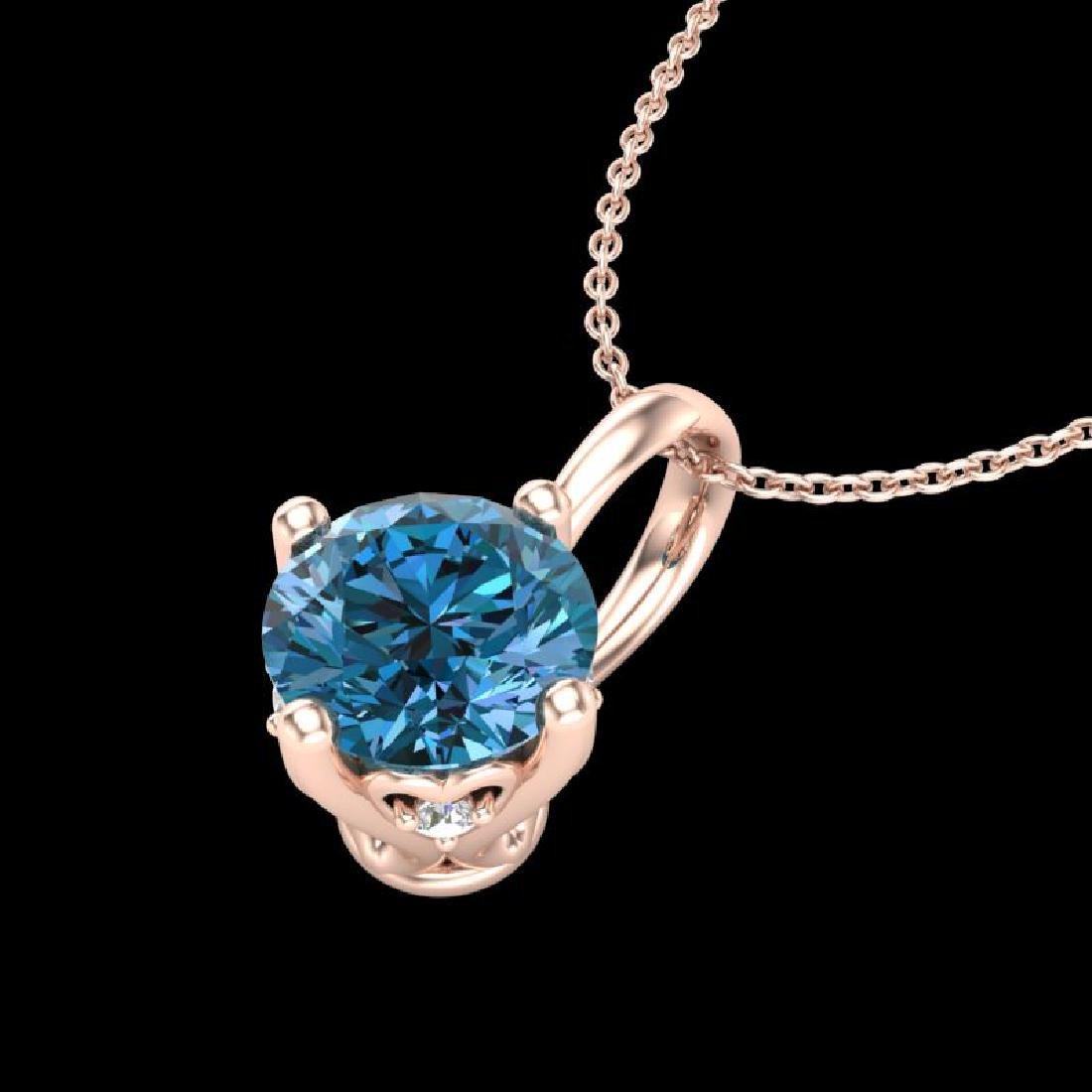 0.82 CTW Fancy Intense Blue Diamond Solitaire Art Deco - 2