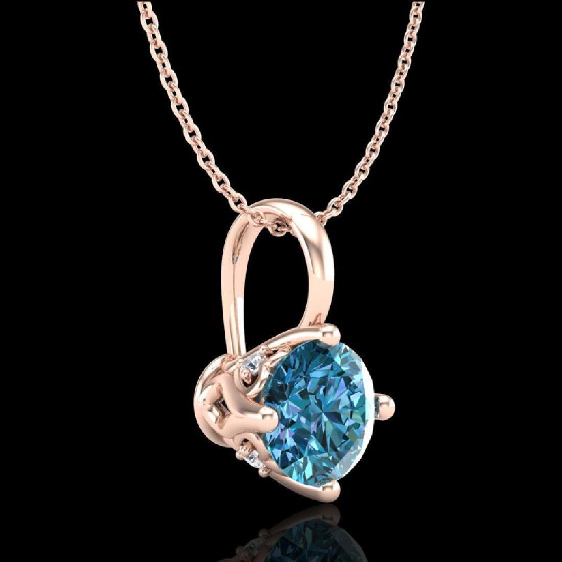 0.82 CTW Fancy Intense Blue Diamond Solitaire Art Deco - 3