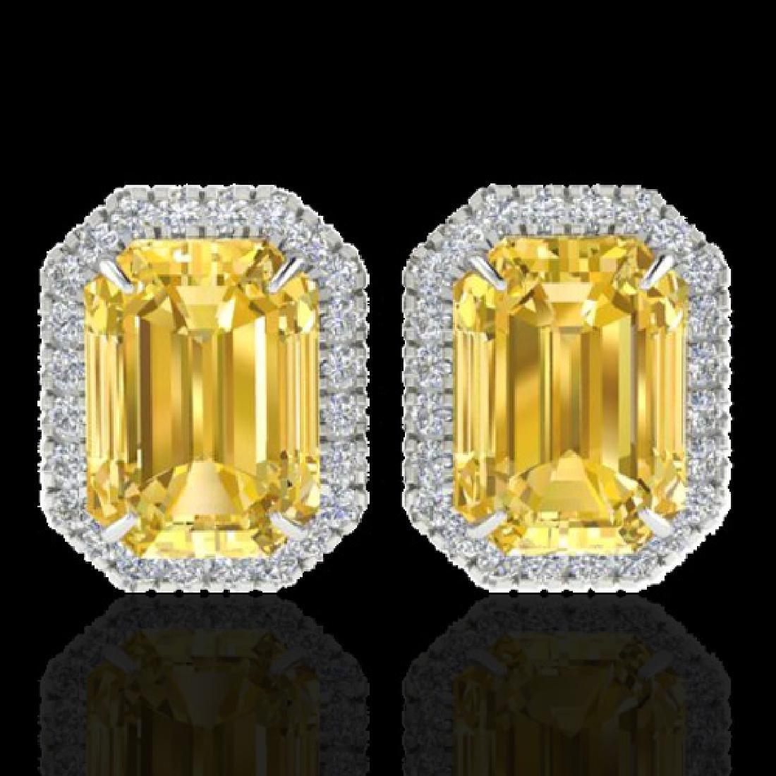 8.40 CTW Citrine & Micro Pave VS/SI Diamond Halo
