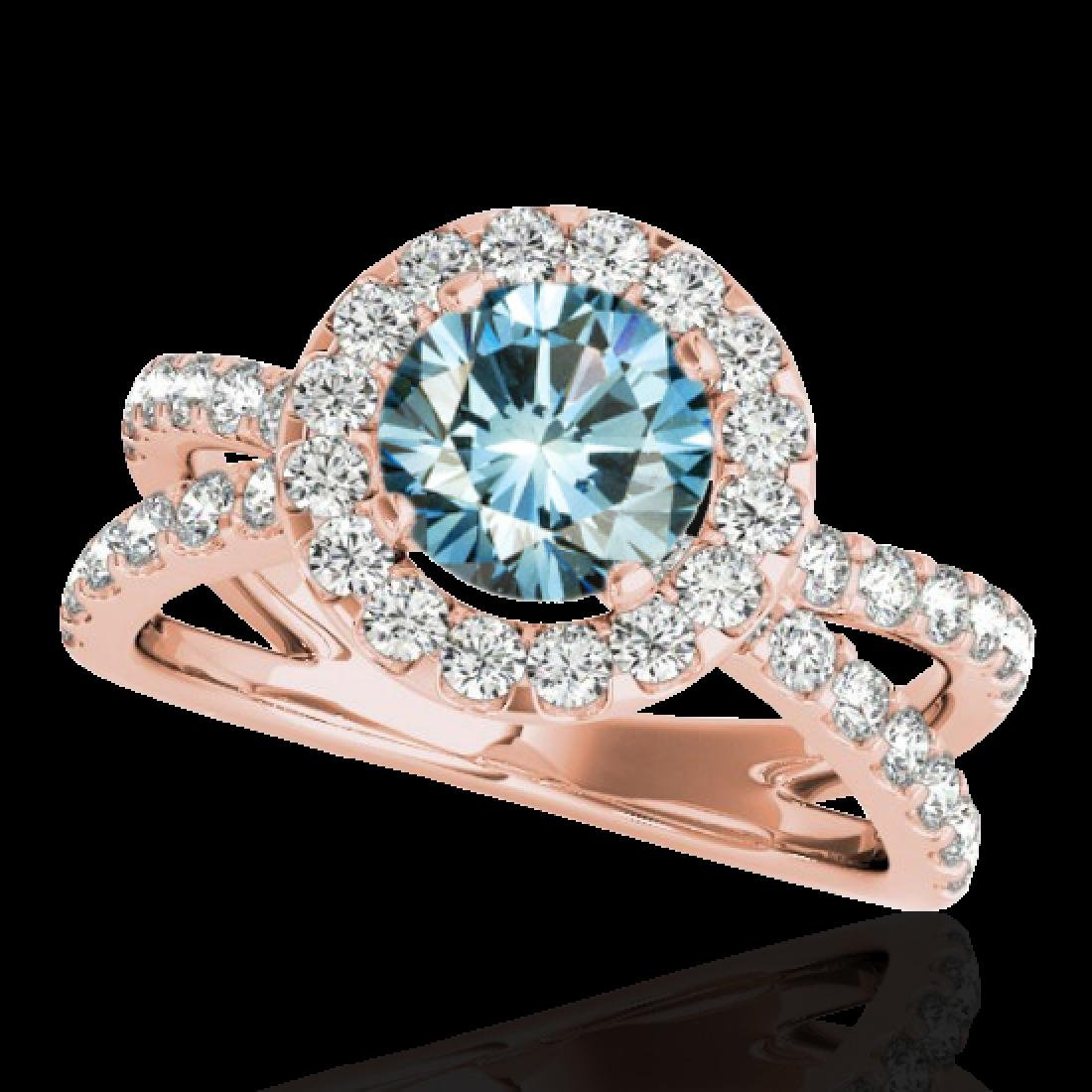2.01 CTW SI Certified Fancy Blue Diamond Solitaire Halo