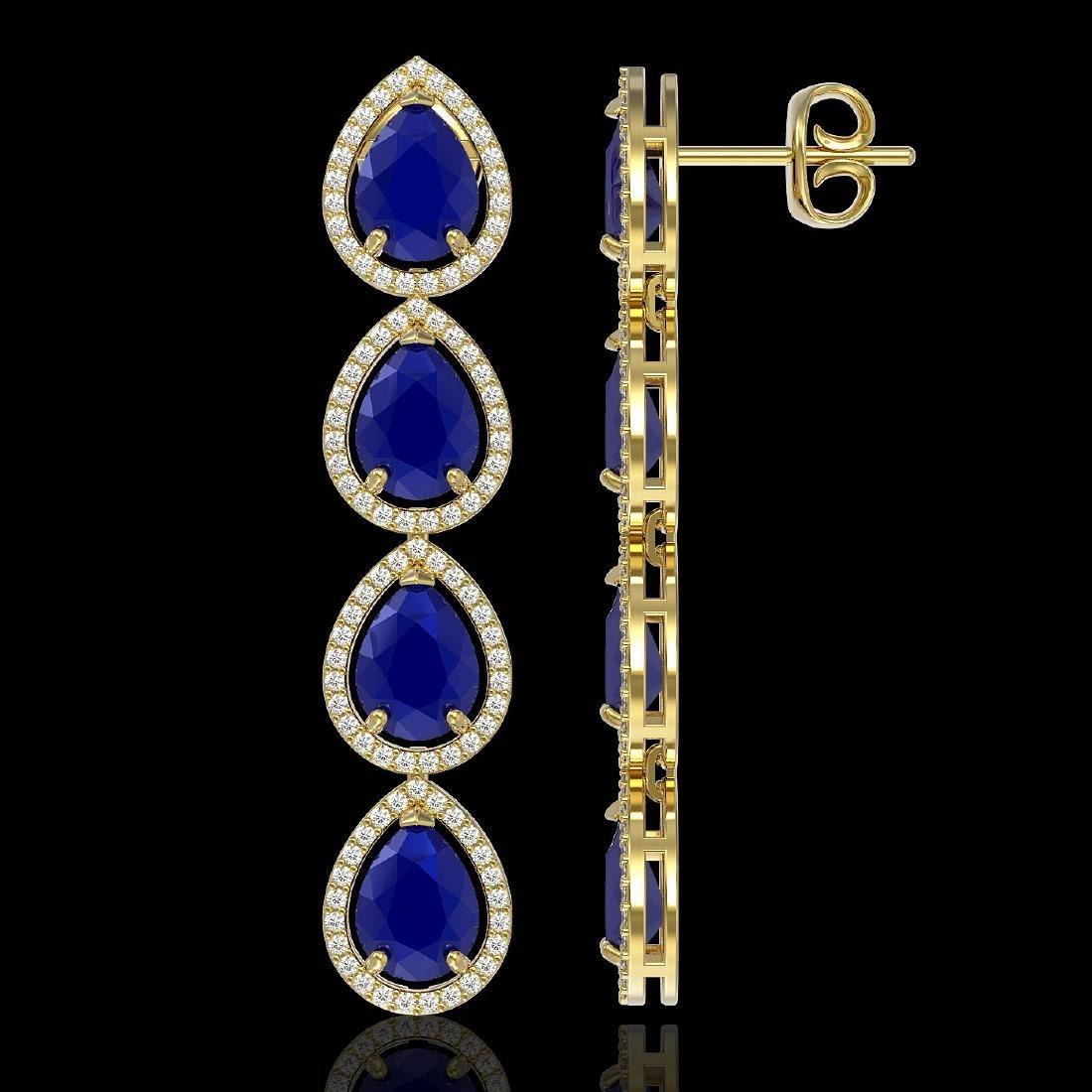 16.01 CTW Sapphire & Diamond Halo Earrings 10K Yellow - 2