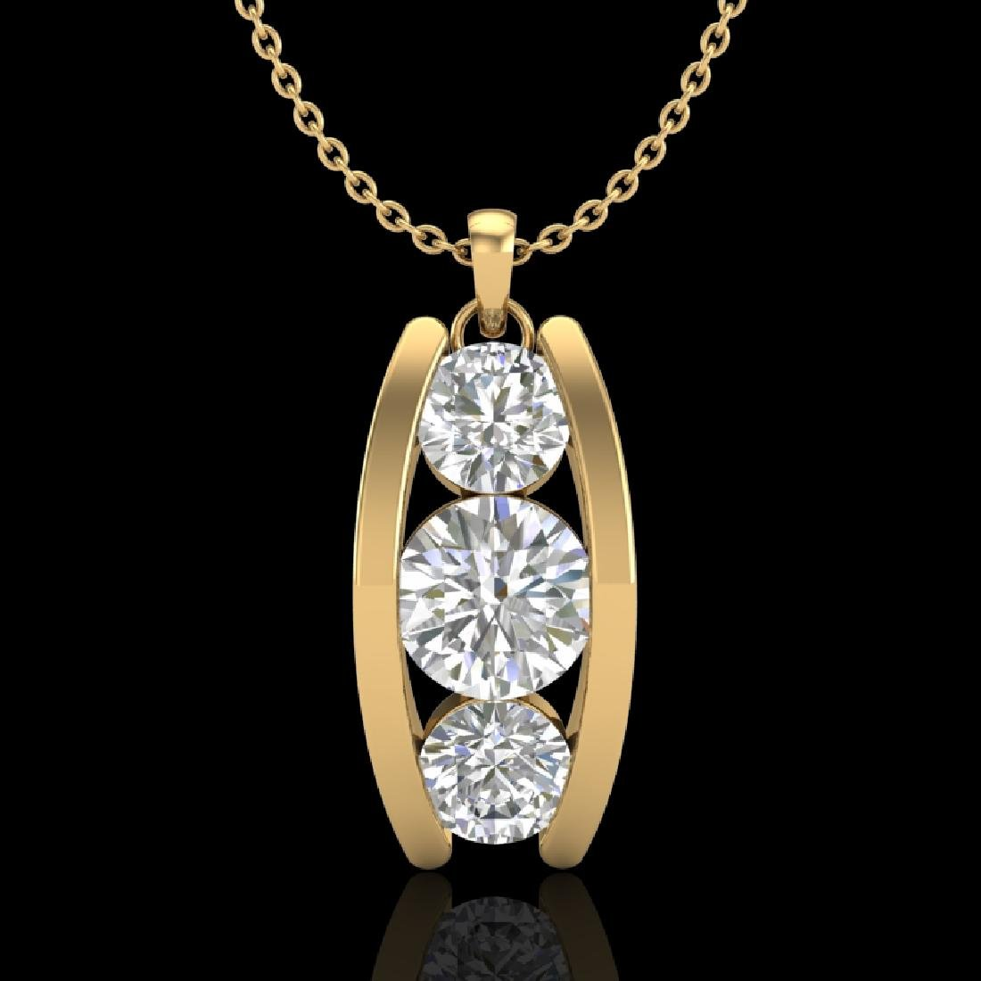 1.07 CTW VS/SI Diamond Art Deco Stud Necklace 18K