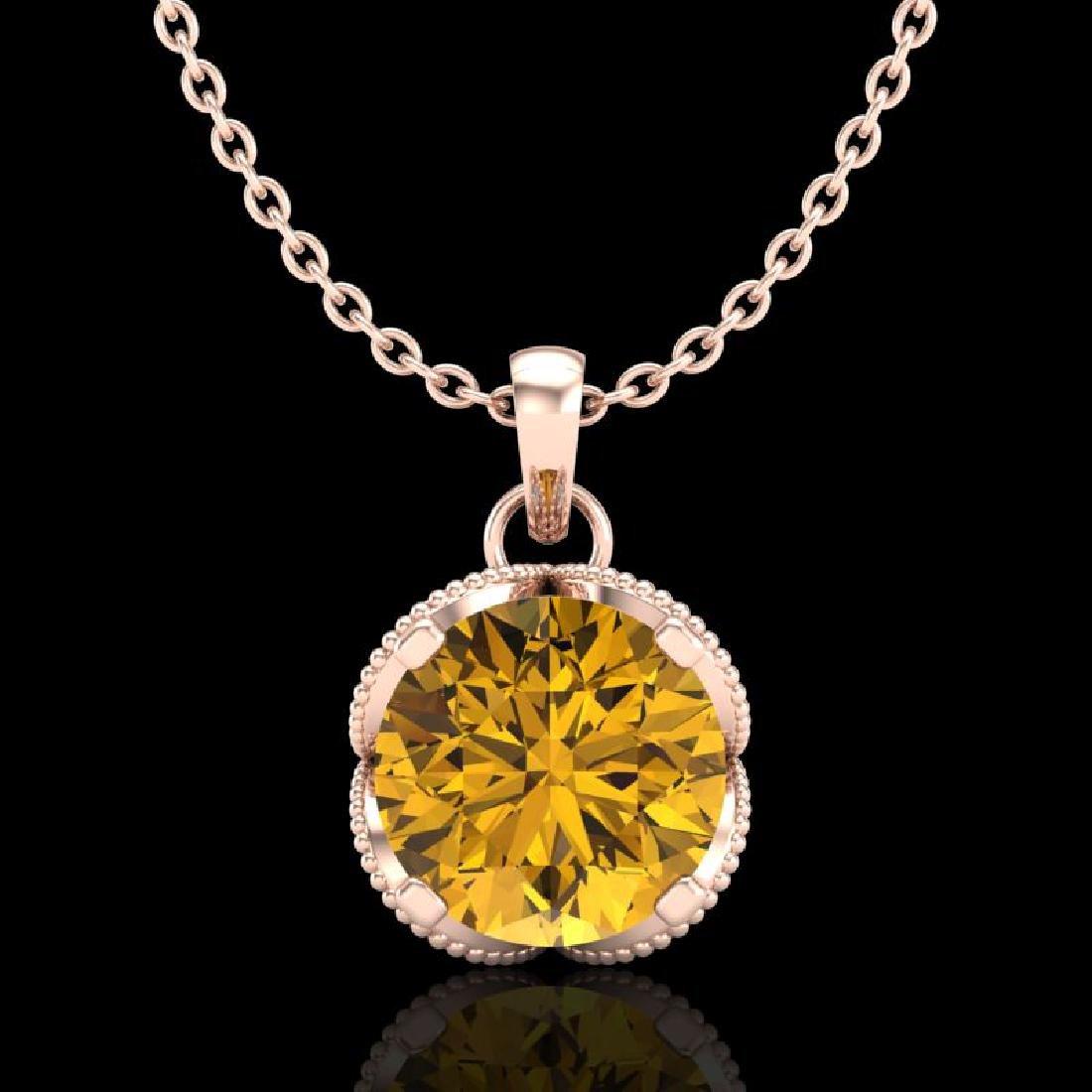 1.13 CTW Intense Fancy Yellow Diamond Art Deco Stud
