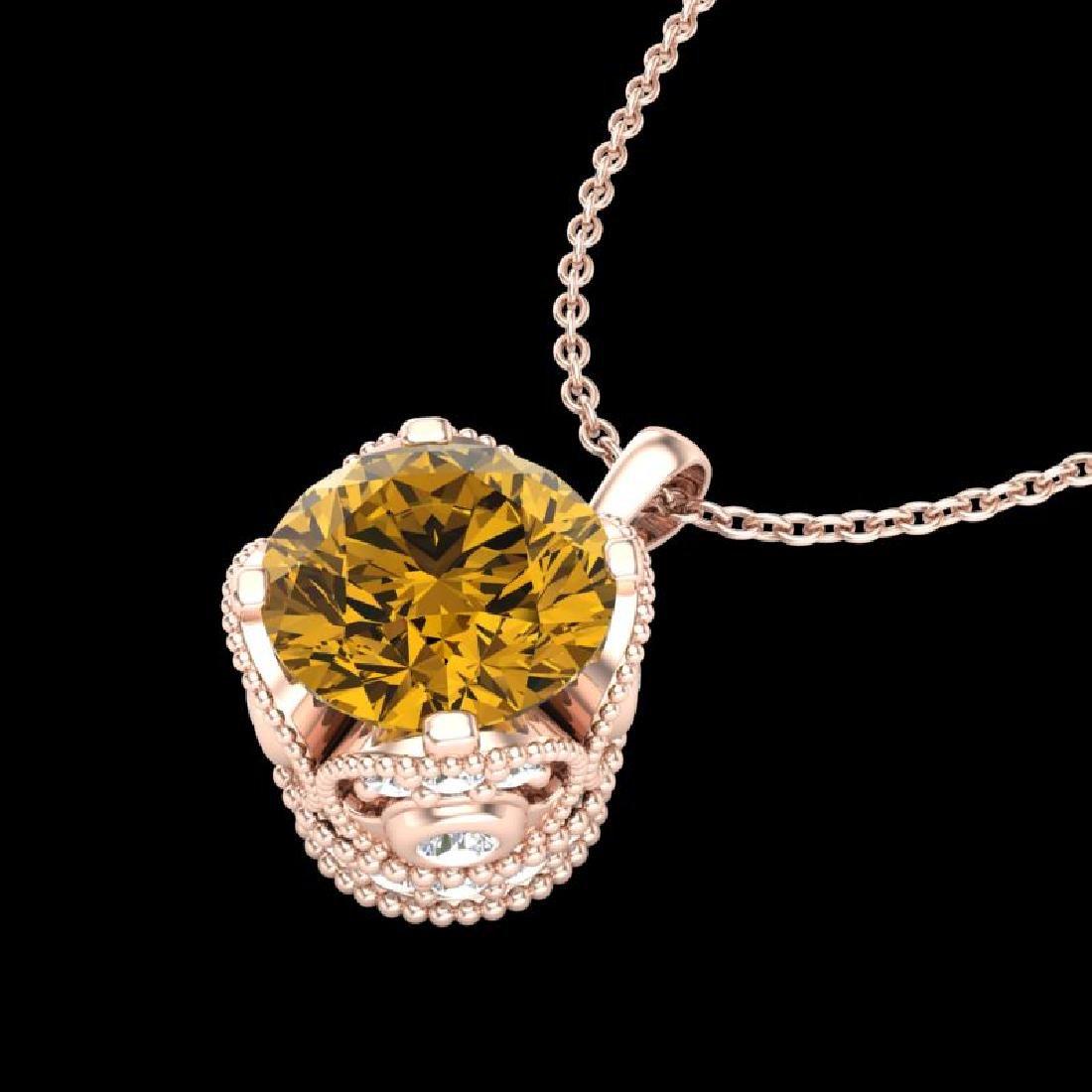1.13 CTW Intense Fancy Yellow Diamond Art Deco Stud - 2