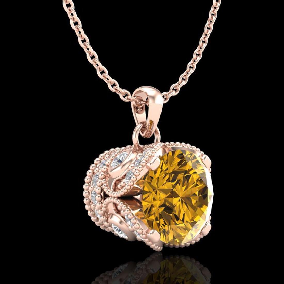1.13 CTW Intense Fancy Yellow Diamond Art Deco Stud - 3