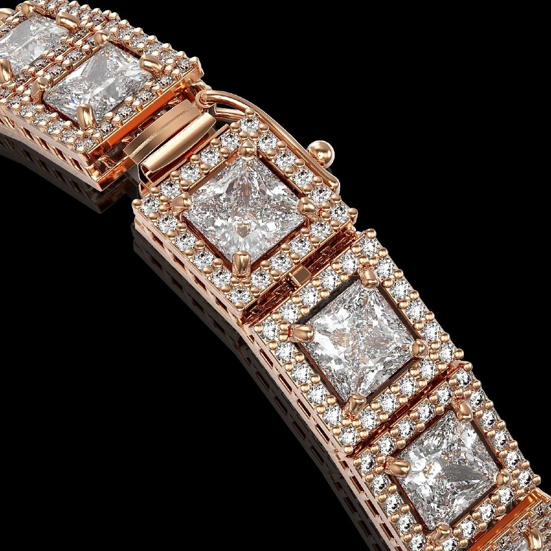 15.87 CTW Princess Diamond Designer Bracelet 18K Rose - 3