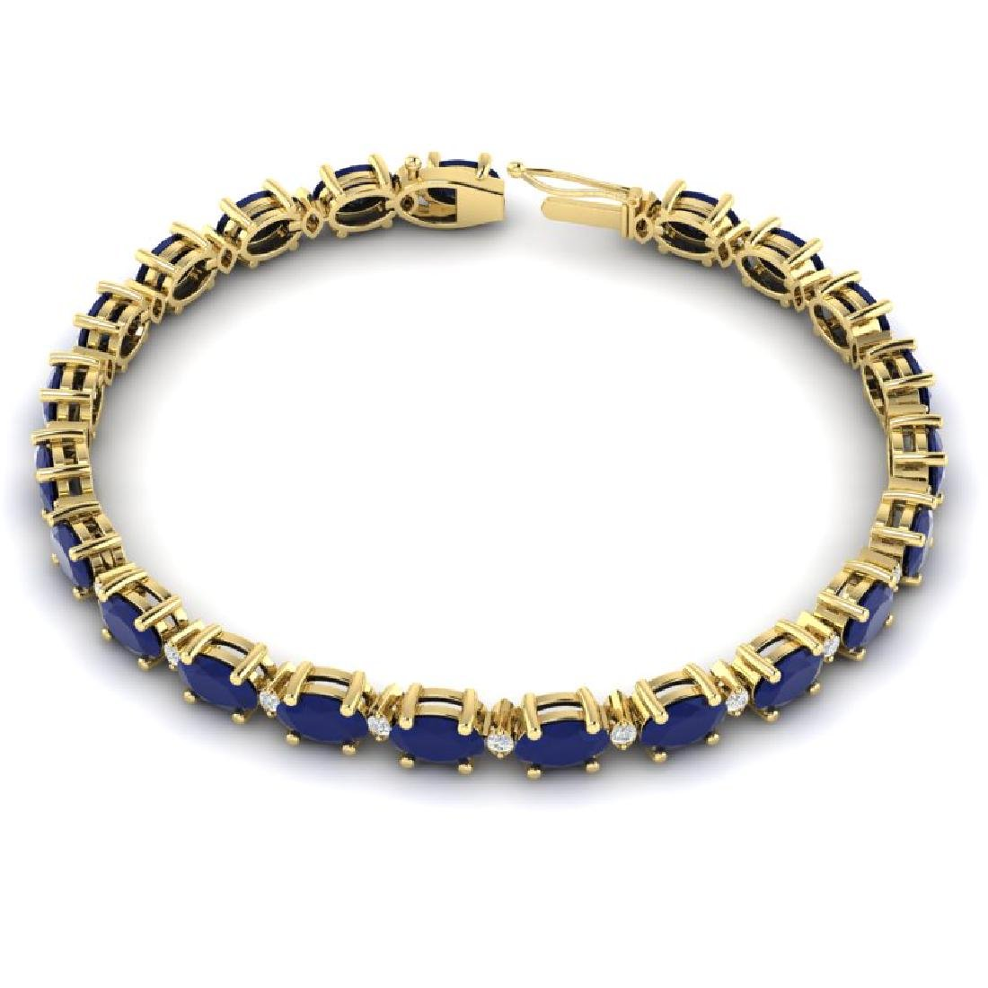 15 CTW Sapphire & VS/SI Diamond Eternity Bracelet 10K - 3