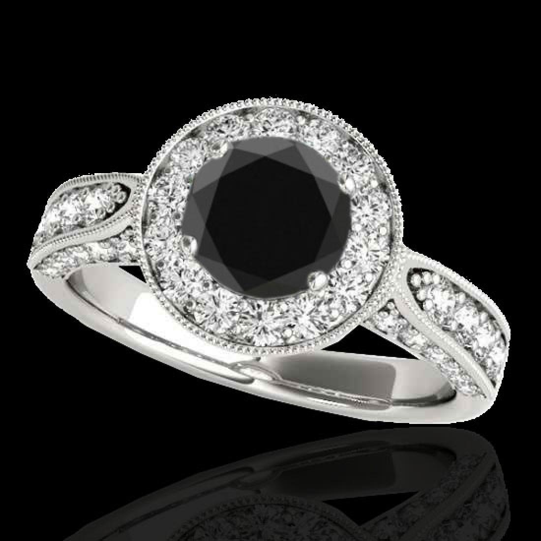 2 CTW Certified VS Black Diamond Solitaire Halo Ring