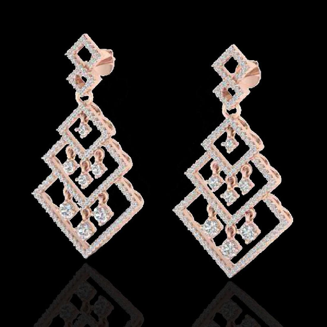 3 CTW Micro Pave VS/SI Diamond Earrings Dangling