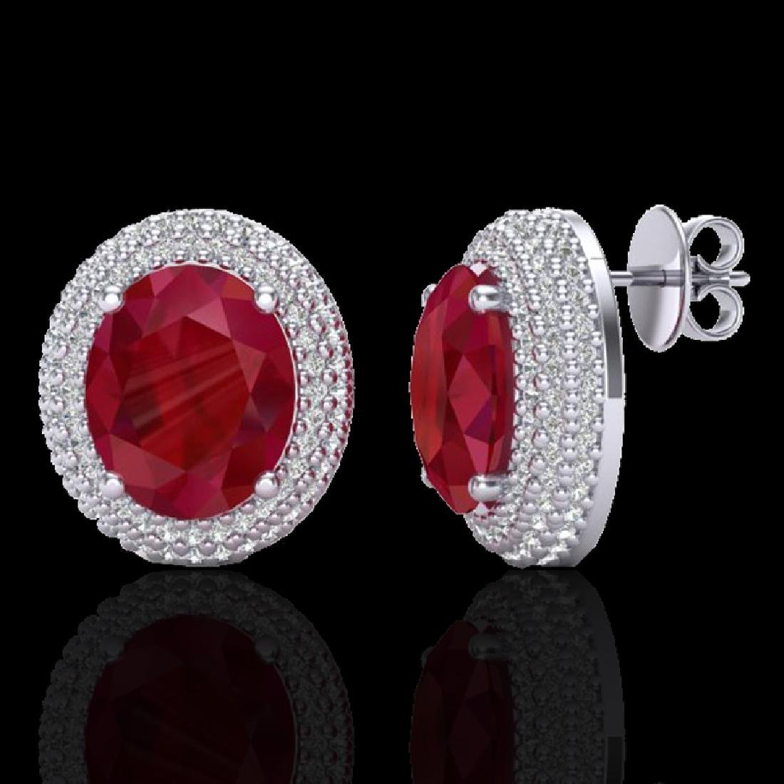 9.20 CTW Ruby & Micro Pave VS/SI Diamond Earrings 18K - 2