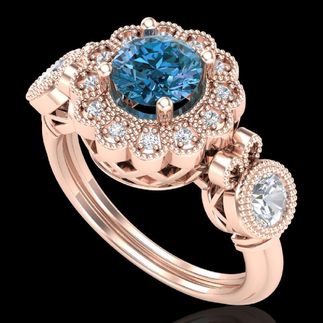 1.5 CTW Intense Blue Diamond Solitaire Art Deco 3 Stone
