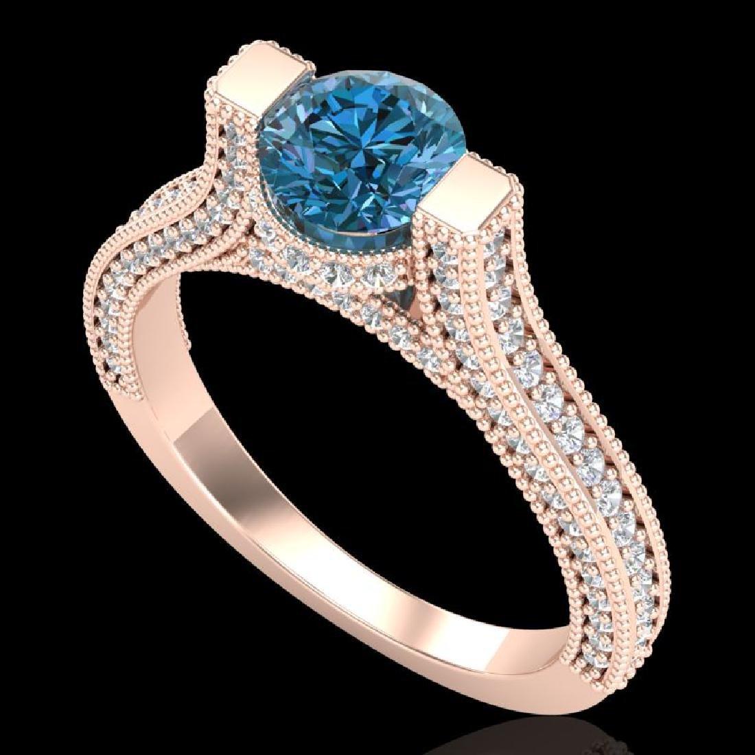 2 CTW Intense Blue Diamond Engagement Micro Pave Ring