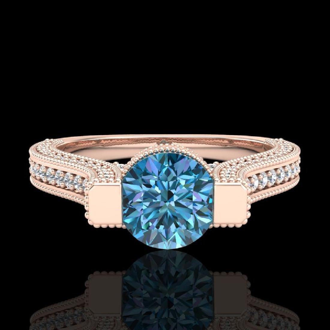 2 CTW Intense Blue Diamond Engagement Micro Pave Ring - 2