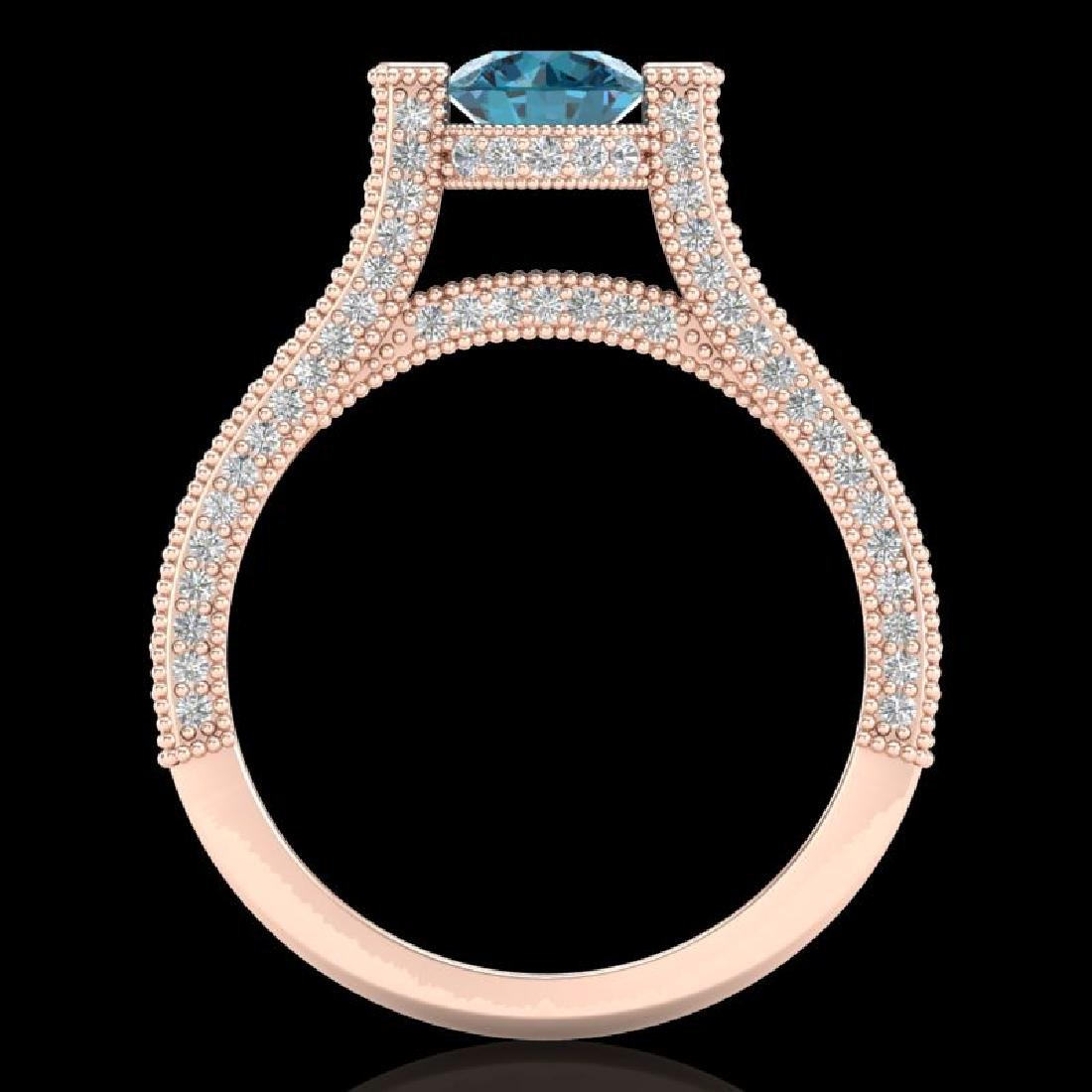 2 CTW Intense Blue Diamond Engagement Micro Pave Ring - 3