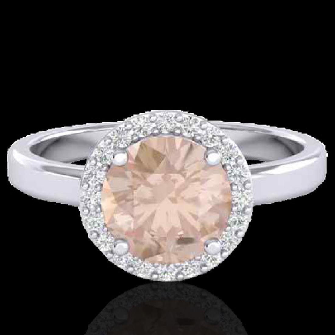 1.50 CTW Morganite & Halo VS/SI Diamond Micro Ring