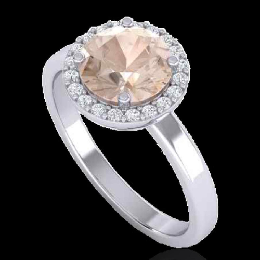 1.50 CTW Morganite & Halo VS/SI Diamond Micro Ring - 2