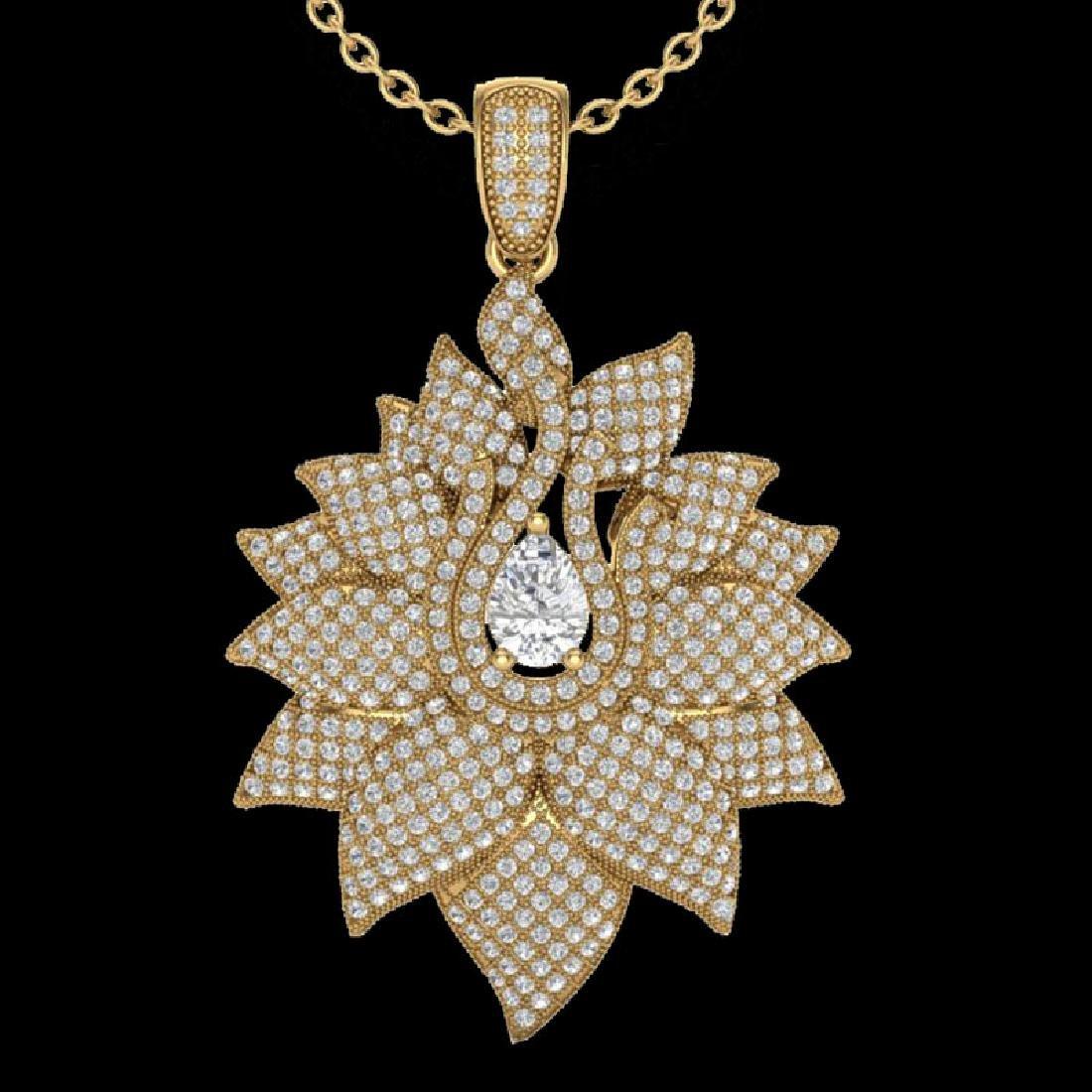 3 CTW Micro Pave VS/SI Diamond Designer Necklace 18K - 2