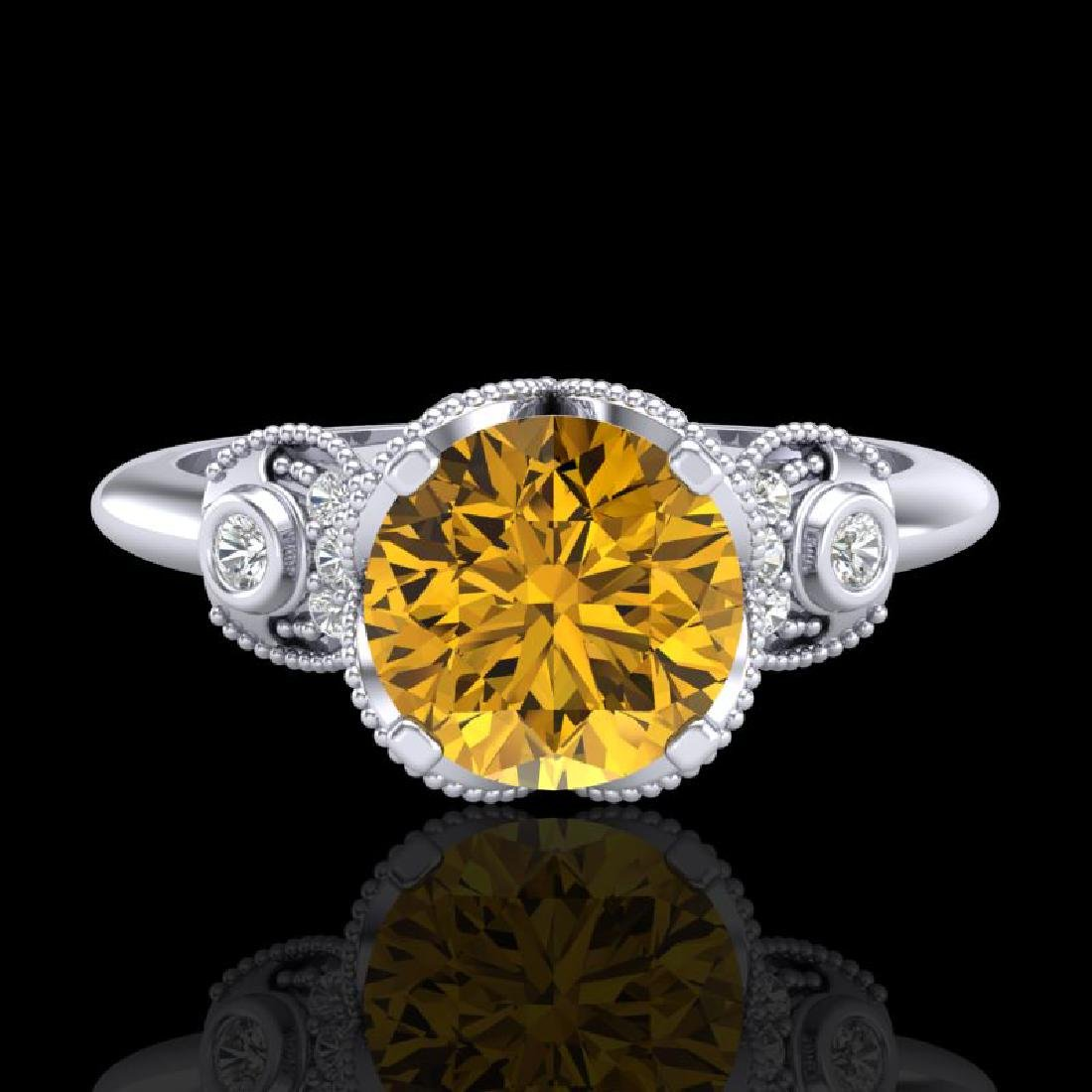 1.75 CTW Intense Fancy Yellow Diamond Engagement Art - 2
