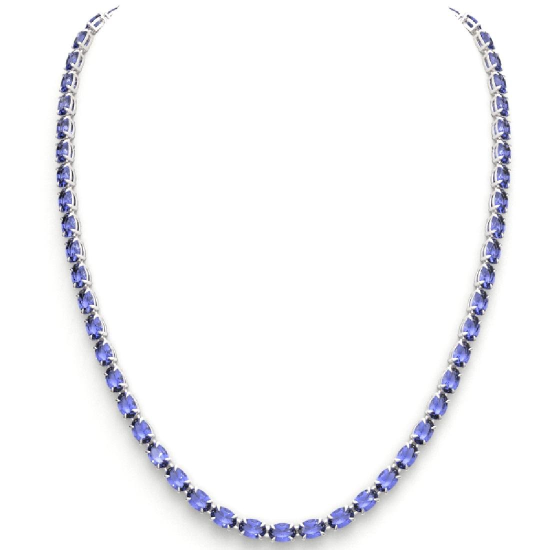 40 CTW Tanzanite Eternity Tennis Necklace 14K White - 3