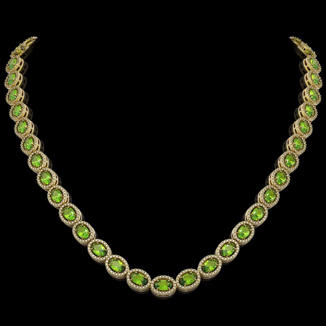 31.1 CTW Peridot & Diamond Halo Necklace 10K Yellow