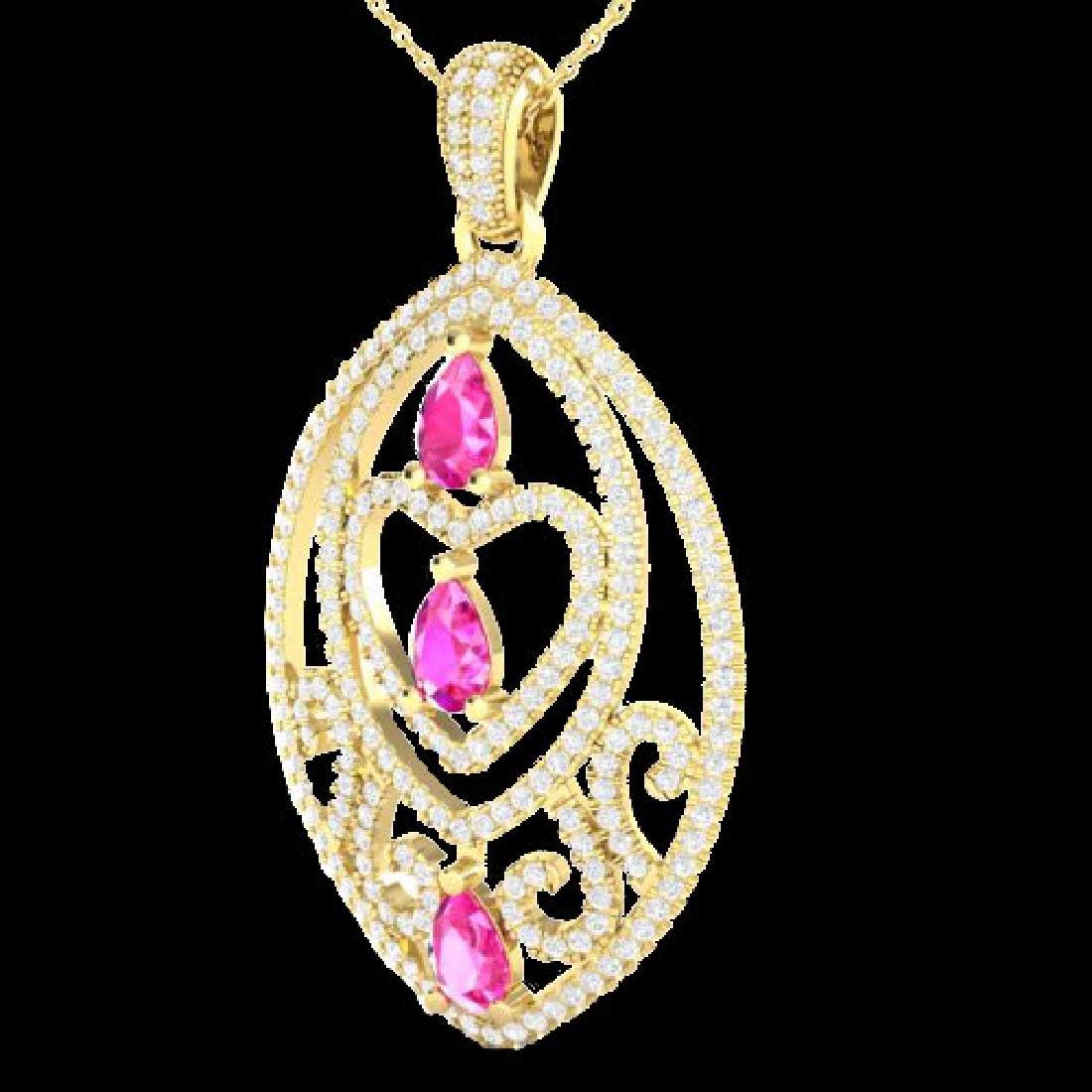 3.50 CTW Pink Sapphire & Micro VS/SI Diamond Heart - 2