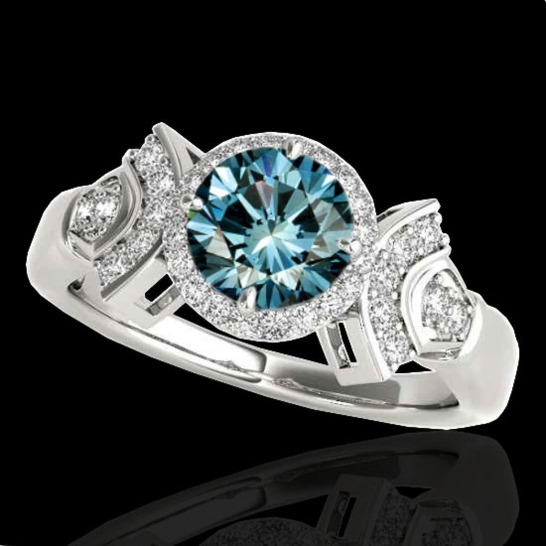 1.56 CTW SI Certified Fancy Blue Diamond Solitaire Halo