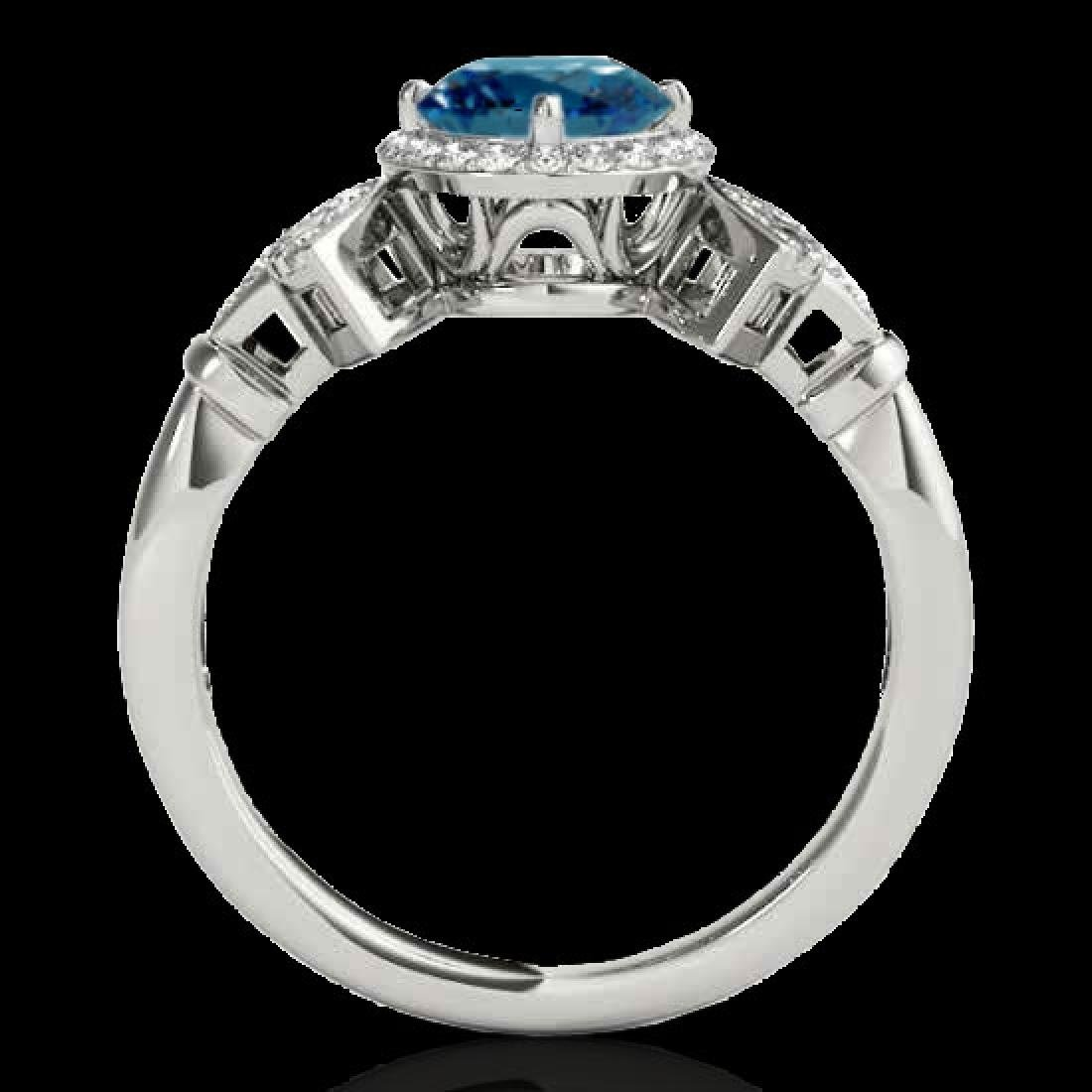 1.56 CTW SI Certified Fancy Blue Diamond Solitaire Halo - 2