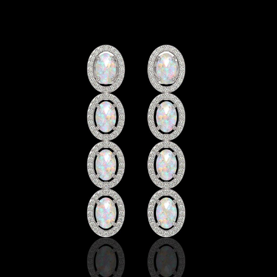 4.05 CTW Opal & Diamond Halo Earrings 10K White Gold