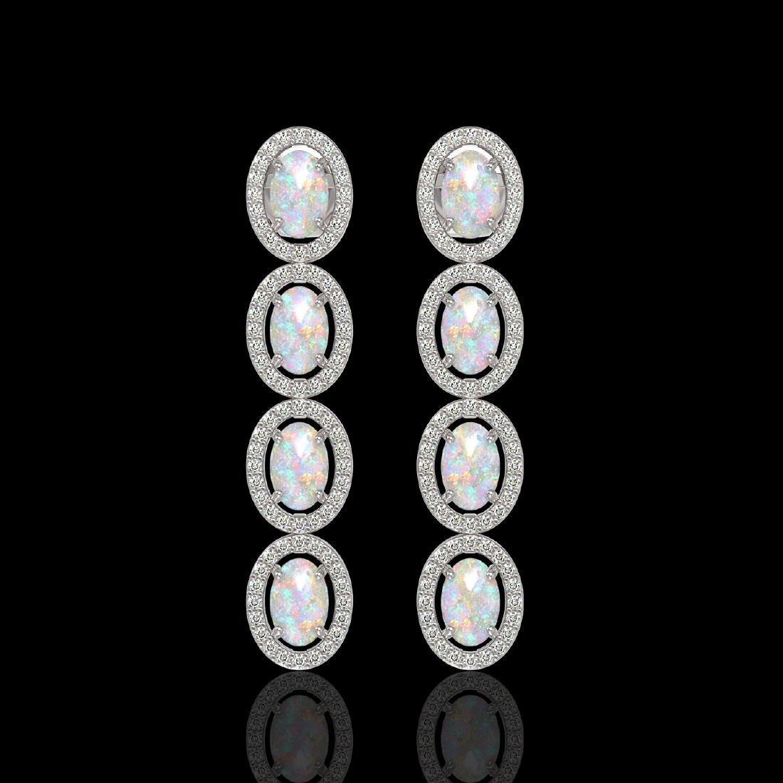 4.05 CTW Opal & Diamond Halo Earrings 10K White Gold